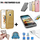 Luxury-Bling Glitter Soft Thin Rubber Case TPU For iPhone+Real Tempered Glass