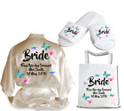 Personalised Butterfly Satin Wedding Robe Dressing Gown Bride Wear Gift - D2