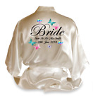 Personalised Butterfly Satin Wedding Robe Dressing Gown Bride Wear Gift - D3