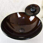 Bathroom Vessel Sink Bowl Oil Rubbed Bronze Faucet Drain Combo Tempered Glass US