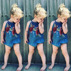 US Stock Newborn Baby Girl Floral Romper Bodysuit Jumpsuit Playsuit Denim Outfit