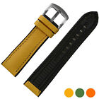 New Unique 20mm Genuine Leather combine with breathable Rubber Watch Strap band