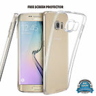 Slim Rubber Solid Clear TPU Gel Jelly Case Cover For Samsung Galaxy S6/S7+FILM