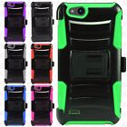 For ZTE Avid 4 Hybrid Combo Holster KICKSTAND Rubber Case Cover + Screen Guard
