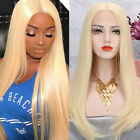 Pre Plucked Brazilian Human Hair Wig Wavy Lace Front Wig No Tangle Light Blonde