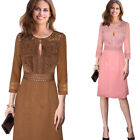 Womens Sexy V Neck Keyhole Crochet Faux Suede Patchwork Party Flare A line Dress