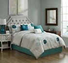 Chezmoi Collection Rosie 7pc Embroidered Blue Teal Rose Floral Comforter Set image
