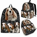 Basset Hound With Puppies Print BackPack - Express Shipping