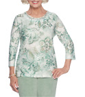 ALFRED DUNNER® S, M, XL Winter Garden Monotone Floral Knit Top NWT $54