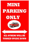 """Classic MINI (Leyland Austin BL Rover) """"PARKING ONLY"""" Metal SIGN / NOTICE plaque"""