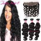 8A Brazilian Natural Wave Hair 3 Bundles With 13*4 Ear to Ear Lace Frontal USPS