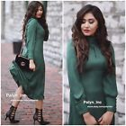 zara account - NWT ZARA AW17 FLOWING MIDI DRESS WITH LONG SLEEVES BOTTLE GREEN 632_XS S M L XL