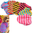 Pet Dog Cat Coral Fleece Stripe T Shirt Vest Warm Apparel Jumper Sweater Clothes