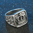 EXTREME Men's Rings Stainless Steel Brushed Titanium Onyx Signet Band Thumb Ring