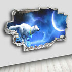 C231 Wolf Night Moon Fantasy Decal Canvas 3D Smashed Hole Wall Vinyl Stickers