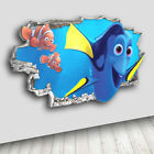 H050 Finding Nemo Dora Nursery Kids Decal Canvas 3D Smashed Hole Wall Vinyl Room