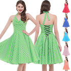 Dress Evening Prom Dot Halter Casual Cotton Retro Vintage Party Swing Polka 50s