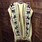 Vintage Deer Buck Heads Sweater Poncho Cape Tie Front Jacket Tribal Creamy Yello