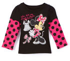 Disney Tee Shirt t Top Toddler Girls Minnie Mouse Black Long Sleeve 2t 3t 4t 5t