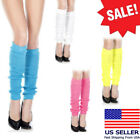 1-4PC Opaque Color Knee Hi Acrylic Leg Warmer Footless Ribbed 80's Costume Socks