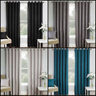 BASKET WEAVE RING TOP READY MADE PAIR OF BLOCKOUT CURTAINS WITH SILVER EYELETS
