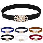 Women' Ladies Vintage Floral Buckle Narrow Stretchy Elastic Waist Belt Waistband