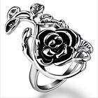 New Women Fashion Alloy Hollow Carved Rose Shape Jewelry Charm Ring T