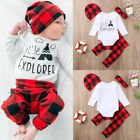 Toddler kid Baby Boys Girls Tops Romper Plaid Pants Hat Outfits Set Xmas Clothes
