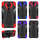 For T-Mobile Revvl Plus Layer HYBRID KICKSTAND Rubber Case Cover + Screen Guard