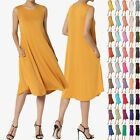 TheMogan Women & PLUS Sleeveless A-line Fit & Flare Midi Long Dress With Pockets