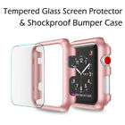 For Apple Watch Series 3/4 38/42 Snap On Bumper Hard Case Cover+Screen Protector