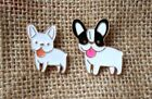 French Bulldog Brooch Metal Badge Dog Puppy Face Pin Enamelled Choose Colour