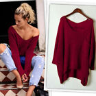 Women's Casual Oversized Baggy Off Shoulder Shirts Long Sleeve Pullover Tops HOT