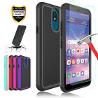 For LG Aristo 2/2 Plus/Fortune 2/Rebel 3 Armor Case+Glass Screen Protector Film