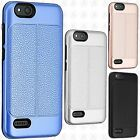 For ZTE Blade Vantage Leather Texture Hybrid Rubber Silicone Cover +Screen Guard