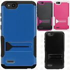 For ZTE Avid 4 Hybrid Silicone Rubber Skin Hard Kick Stand Cover +Screen Guard