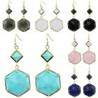 Faceted Hexagon Gemstone Crystal Gold Plated Hook Dangle Earrings For Women