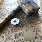 Kraft Brown Wrapping Paper Grey Evie 2 / 5 / 10 metres optional ribbon & tags