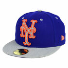 New York Mets MLB Full Heather XL Logo 59FIFTY Fitted Flat Bill Brim Hat Cap NY
