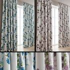 Lydia Blackout Thermal Pair Of Pencil Pleat Curtains With Floral Flowers Print