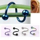 Stainless Steel Bars Balls Ring S Shape Twist Cartilage Earring Nose Lip 3Colors