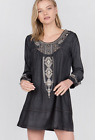 Antropologie Womens Monoreno LONG SLEEVE EMBROIDERED DENIM DRESS  Size S/M/L