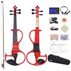4/4 Solid Electric Silent Violin Style-3 Red W/Bow Case Tuner Headphones U3A3