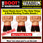 TRADIE MEN'S UNDERWEAR - FITTED TRUNKS  -  'RED BANDS'  -  3 PACK