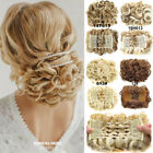 Women Wave Curly Combs Clip In Hair Bun Buns Chignon Updo Cover Hair Extension F