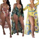 Women floral print swimsuit one-piece monokini Bathing Suit bikini with cover up