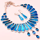 SWISS BLUE TOPAZ FACETED MADGASCAR  LOOK HANDMADE JEWELRY NECKLACE SET 18''