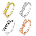 925 Sterling Silver Micro CZ Paved Stackable Rings Bow Knot Female Girl Gift