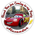 Personalised Disney Cars Movie Stickers Birthday Party Thank