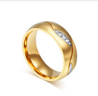 NEW Wedding Band Ring For Couple Gold Color Stainless Steel Man & Women Jewelry